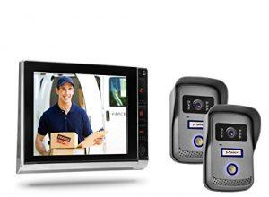 Video Türsprechanlage TSA4 in schwarz/chrom mit zwei Außeneinheiten – Gegensprechanlage mit 2 separaten Klingeleinheiten für 2 Haustüren/Hauseingänge/Familien Klingeln