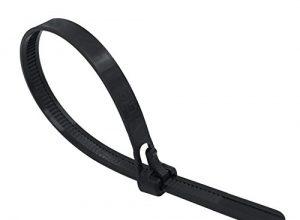 intervisio Kabelbinder Wiederverschließbar, 250mm x 7,5mm, schwarz, 100 Stück, Wiederlösbar, Wiederverwendbar