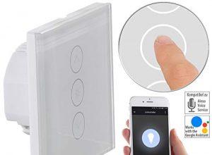 Luminea Home Control WLAN Lichtschalter: Touch-Lichtschalter & Dimmer, komp. zu Amazon Alexa & Google Assistant Dimmer LED