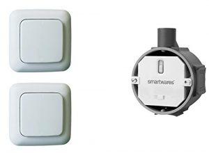 Funk Schalter Set – Funk-Einbauschalter + 2 x Funk-Wandschalter, für Leuchten und Geräte bis max. 1000W