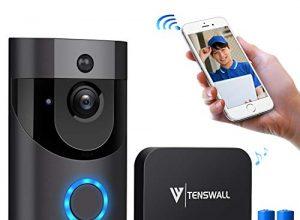 Video Türklingel,Tenswall 720P HD WIFI Überwachungskamera mit Glockenspiel,Gespräche Video Echtzeit,Nachtsicht PIR-Bewegungserkennung, IOS,Android Smart APP Fernbedienung über 2.4G WLANMit Batterien