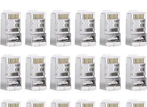 Sumind 50 Stück Cat6 Leiter Cat6 Geschirmt RJ45 8P8C Stecker für STP Ethernet Netzwerkkabel Modular Stecker Crimp