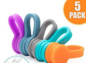 Multifunktional Kopfhörer Wrap Cord Organizer für Kopfhörer,USB-Kabel,Ladegeräte,Audiokabel,Lesezeichen,Schlüsselanhänger5 Stück – Magnetische Kabelhalter