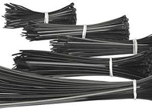 AGT Kabelbinder-Sortiment: 500er-Set Kabelbinder in 5 Größen zu je 100 Stück, schwarz Kabelstrap