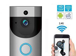 Video Türklingel, IP65 720P HD WLAN Video Doorbell mit Echtzeit-Video-und Gegensprechfunktion, Nachtsicht, Bewegungsmelder, automatisch Snapshot/Aufnahme, Kompatibel mit Cloud-Service, iOS & Android
