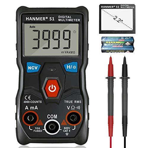 Digital Multimeter, Hanmer Auto Range TRMS AC / DC Volt Advanced Current Detector Multimeter &4000 Zählt Außenleiter-Identifizierung, Hintergrundbeleuchtung Resistance Capacitance
