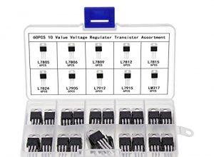Aussel Spannungsregler IC Sortimentskit L7805CV L7806 L7809 L7812 L7815 L7824 L7905 L7912 L7915 LM317 10Values 60 Stück