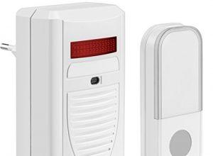 Plug In für die Steckdose + Blinklicht / bis 40 Meter Reichweite! – mumbi Tür Gong schnurlose Türklingel