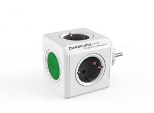 allocacoc PowerCube Switch Original, Reiseadapter mit Schalter, 4 Fach Steckdose zum Stromsparen, 230V Schuko