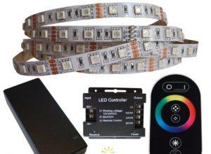 10 Meter RGB LED Streifen Set 60 LED/m, IP20 inkl. Controller, Funkfernbedienung und 12 A Netzteil