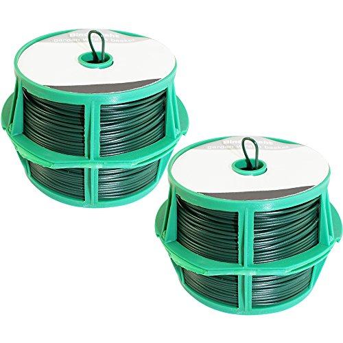 com-four® 100 Meter Bindedraht in grün, 2 Rollen mit je 50 Meter kunststoffummanteltem Draht mit Abschneidevorrichtung 02x 50m grün V2