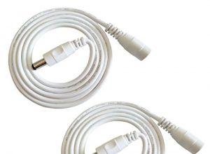 Weiß – Liwinting 2pcs 1m DC Verlängerungskabel 5.5 mm x 2.1 mm DC Anschlusskabel DC/Gleichstrom Verbinderkabel DC Verteiler Männlich zu Weiblich Verbinder für Netzteil, LED, CCTV-Kamera Power, Auto