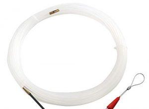 RUNCCI Kabel-Einziehhilfe 15m mit Führungsfeder Öse Nylon Ø3 mm Einziehdraht Kabel