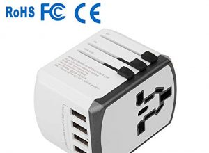 Yarrashop Universal Reiseadapter USB Stecker World Travel Adapter Stromadapter Aufladung Reise Stecker Universal einsetzbar für 150 Ländern z.B. Europa USA Australian UK usw. Weiß
