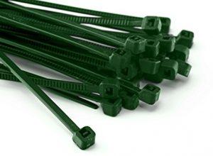 100 Stück Kabelbinder 200mmx4,8mm für Schattiernetz Zaunblende Zaun in grün