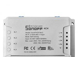 Sonoff 4CH R2 Smart Switch WiFi Fernbedienung Drahtlos 4-Kanäle Schalter Fernbedienbare Steuerung Kompatibel mit Google Alexa + Elastisches Fingergriff MobiltelefonGeschenk