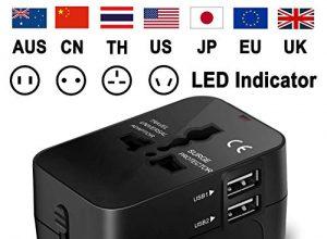 Universeller Weltreise Reisestecker Travel Adapter Steckdose mit USB ladestecker SCHWARZ – Universal Reiseadapter Weltweit Stromadapter Stecker für USA Europa UK Thailand Australien China