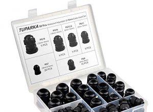 TUPARKA 50 Pack Kabelverschraubung Wasserdichte, einstellbare 3-16 mm Kabelanschlüsse PG7 PG9 PG11 PG13.5 PG16 PG19 Kunststoff-Kabelverschraubungen mit Dichtungen in PP-Box