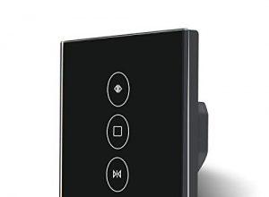 TEEKAR Black Rolladen Zeitschaltuhr, WLAN Rolladenschalter Kompatibel mit Alexa Echo und Google Assistant, WiFi Touch Schalter Drahtlose Fernbedienung für Curtain/Roller Shutter