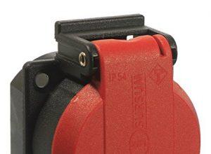 Schwabe 45080 230 V Schutzkontakt-Einbaudose, rot/schwarz, mit Klappdeckel IP 54 – as