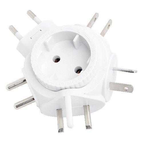 LogiLink PA0054 Reiseadapter Steckdose für Euro Stecker, für viele Länder geeignet Siehe Beschreibung, 2500W Weiß