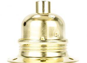 Fassung für Lampe E27, Metall Lampenfassung mit Außengewinde und Schraubringen, vermessingt mit Zugentlastung in Messing-Finish