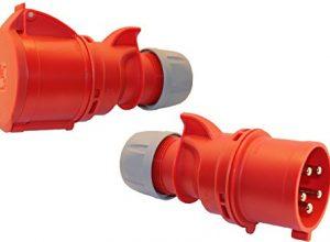 SET CEE Kupplung und Stecker mit Phasenwender 16A; 5-polig 6h 400 V Starkstrom Kupplung Industriequalittät