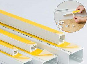 1M Weißer, selbstklebender PVC-Kabel- & Drahtkanal, Kunststoff-Elektrorohr–2 x 1m Länge– verschiedene Größen u.a. 10x 8, 16x 10, 16x 16, 25x 16, 38x 16& 38x 25mm