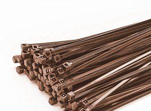 200 Stück Kabelbinder 100mmx2,5mm für Zaun Schattiernetz Zaunblende in braun