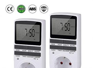 Zeitschaltuhr Digital mit LCD-Display |infinitoo Digitale Elektrische Zeitschaltuhr Steckdose | 3680W | 10 konfigurierbare Programme |LED-Statusanzeige |Zufallsschaltung |12/24h-Modus 2er Sets