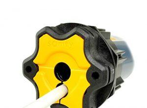 Funk Rollladenmotor Somfy® Oximo 50 RTS inkl. Einbruchschutz durch 3 Hochschiebesicherungen, Motorlager, Anschlusskabel und SW 60 Adapter/Mitnehmer. Oximo RTS 10/17