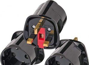 Brennenstuhl Reisestecker/Reiseadapter Reise-Steckdosenadapter für: England Steckdose und Euro Stecker Farbe: schwarz 3er Pack