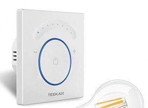 Neutralleitung Erforderlich – TEEKAR Smart Dimmer Schalter Kompatibel Mit Alexa/Google Home, WLAN Berühren Lichtschalter mit Timerfunktion, APP Fernbedienung, AC 110-240 V Für LED INC CFL