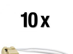 250V | Keramik beige | 15cm Kabel weiß 10 Stück – MAILUX SOD19734 G9 Fassung | Sockel für LED und Halogen | 230V
