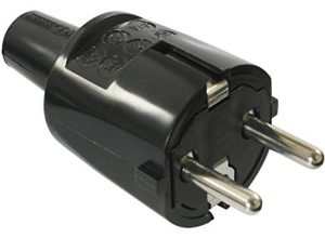 as – Schwabe 62222 PVC Stecker,schwarz, doppelter Schutzkontakt, 230 V
