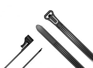 TOP Series – 7,4mm x 300mm – KabelDirekt – lösbare und Wiederverwendbare Mehrweg Kabelbinder, 100 Stück, Nylon flexibel, schwarz – Kabelbinder wiederverschließbar