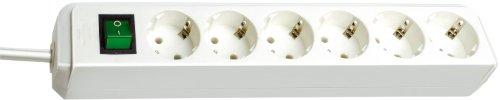 Brennenstuhl Eco-Line 6-fach Steckdosenleiste Steckerleiste mit Kindersicherung, Schalter und 1,5 m Kabel weiß