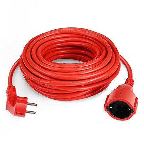 SIMBR Verlängerungskabel 15m Schuko Verlängerung H05VV-F 3G 1,5mm Rot