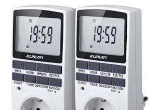 GAOPAN Elektronische Steckdose, Zeitschaltuhr Digitale Stecker Timer Sockel Schaltuhr, Küchentimer Timing-Buchse Programmierbare mit LCD-Display 12/24 Stunden 7 Tage W45 2er Pack