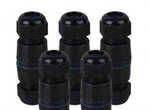 cnbtr Ethernet-LAN schwarz IP68Schutz M25Füllung SM Kunststoff RJ45ungeschirmt Wasserdicht Kabelverschraubung Anschluss für Doppel Kabel Set von 5