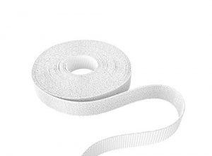 12,5mm x 5m – KabelDirekt – Rolle für Kabel, frei zuschneidbar, weiß – Klett Kabelbinder