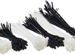 Schwarz und weiß – AmazonBasics – Selbst-schließende Nylon-Kabelbinder – 15 cm, 20 cm und 30 cm
