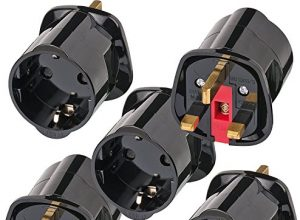 Brennenstuhl Reisestecker/Reiseadapter Reise-Steckdosenadapter für: England Steckdose und Euro Stecker Farbe: schwarz Für GB | 5er Pack
