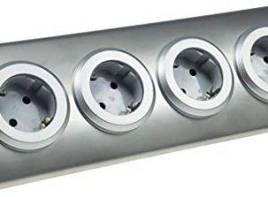 ChiliTec 4-Fach Edelstahl Aufbau-Steckdose mit Schutzkontakt-Steckdosen 230V, 45° Winkel, Innen vorverdrahtet Edelstahl gebürstet