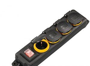 Hama Outdoor Steckdosenleiste mit Schalter, 4-fach, 4m spritzwassergeschützt nach IP44, mit Klappdeckel, zur Wandmontage geeignet Außenbereich Mehrfachsteckdose schwarz
