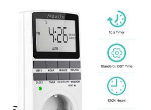 Digitale Zeitschaltuhr Steckdose, Maxcio Programmierbare Elektronische Timer Steckdose mit 10 konfigurierbaren Schaltprogramme und Anti-Theft-Modus,16A / 3680W – 1 Pack