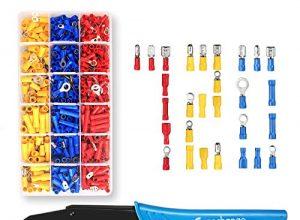 Crimpzange Kabelschuhe Set, LIUMY Kabelschuhzange mit 720 stk. Isolierte Ratschendrahtklemmen Crimpzangen-Kit, AWG22-10 0,5-1,5 mm² 1,5-2,5 mm² 4-6 mm² 27 Arten verschiedene Kabelschuhen Ring
