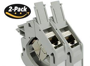 AIXONTEC 2x Hutschienen DIN Schiene DIN Rail Keystone Adapter Modul Gehäuse Grau mit 2x Cat.6A Buchsenmodul geschirmt Jack 10000 1000 Mbit 500MhZ – IP20 – toolless – mit deutscher Montageanleitung