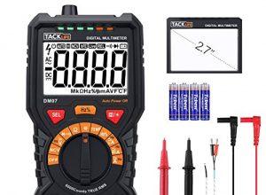TACKLIFE DM07 – Multimeter Digital Autorange 6000 Counts True RMS für AC DC Spannung Strom Widerstand Durchgangsprüfung Temperatur mit Großer LCD Bildschirm Hintergrundbeleuchtung