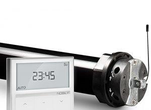 NOBILY Profi-Set elektromechanischer Funk-Rolladenmotor PR5 20/15-60 inkl. Funk-Timer Zeitschaltuhr Exquisit Wandsender für die 60mm Achtkant-Welle – bis 50Kg